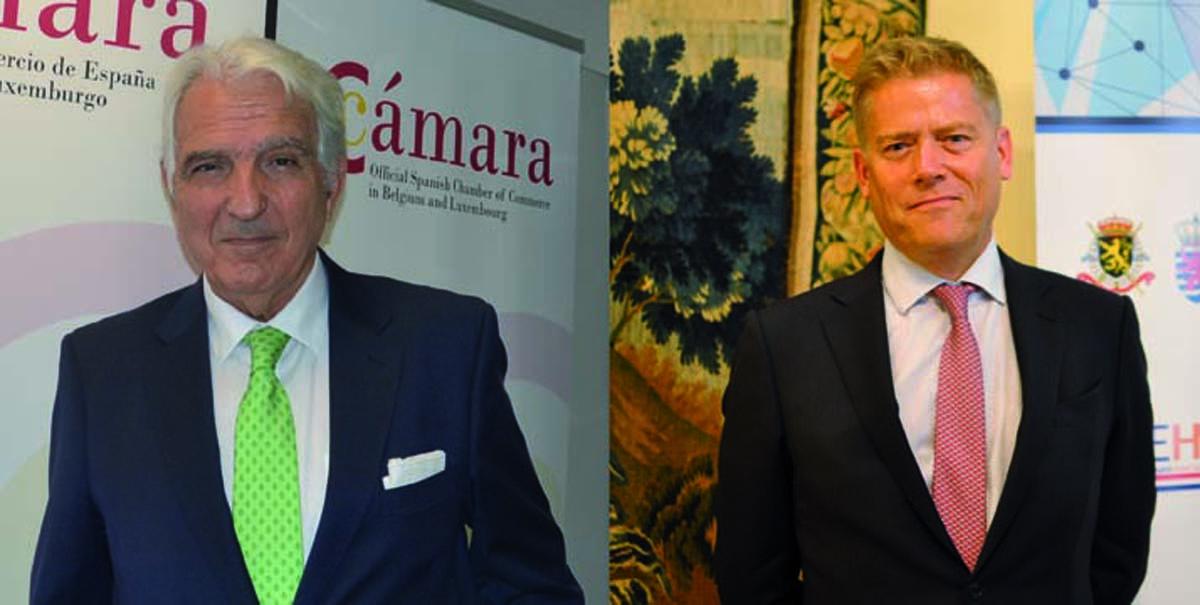 Yves Verhamme, presidente de la Cámara de Comercio de Bélgica y Luxemburgo en España, y Juan Rodríguez-Villa Matons, presidente de la Cámara Oficial de Comercio de España en Bélgica y Luxemburgo.